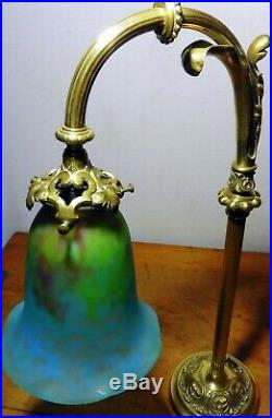 Lampe col de cygne bronze + laiton & tulipe en pâte de verre signée DAUM NANCY