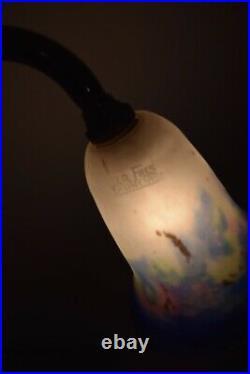 Lampe de bureau, art déco, 1950 tulipe pâte de verre, Muller Frères Lunéville