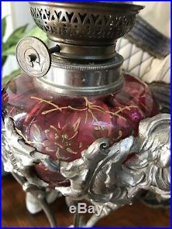 Lampe petrole art nouveau, Art Nouveau, Majorelle, Daum, Verre Émaillé, Rare