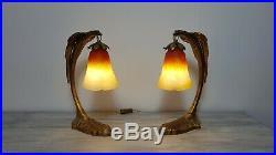 Lampes en bronze art nouveau style C. Ranc tulipes pate de verre Schneider
