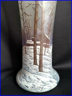 Legras / Grand vase belgrade 41cm en verre émaillé paysage neige / Art Nouveau