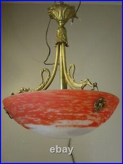 Lustre Art Déco Art nouveau Bronze et pate de verre