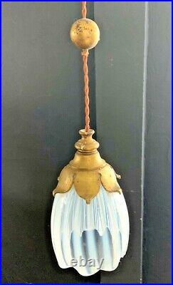 Lustre Art Nouveau WAS benson bronze-laiton verres opalescent-guimard-horta