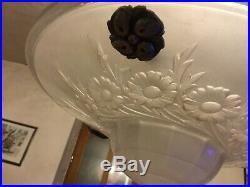Lustre Art Nouveau en Verre Pressé Moulé