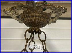 Lustre, Plafonnier Art Nouveau, Pate De Verre Marmoréen Obus, Monture Bronze