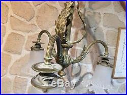 Lustre Suspension en bronze laiton XIXeme 3 tulipes verre depoli art nouveau