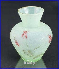 Muller Croismare Rare Vase Ancolies Verre Gravé Émaillé ART Nouveau Gallé