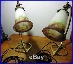 Paire Lampes Col De Cygne Bronze Tulipes Pte De Verre Muller Frères Lunéville