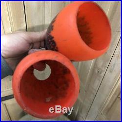 Paire de Tulipe Pâte de Verre Art Nouveau Globe Lampe Lustre Ancien Non Signé
