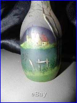 Pate de verre vase miniature signé F. Jost école de Nancy, paysage, 1890-1900