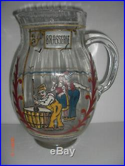 Pichet Brasserie Verre Emaillé Emile Gallé déposé Art Nouveau XIXème signé