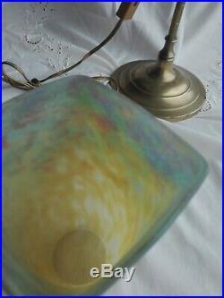 Pied lampe laiton et tulipe Muller pâte de verre nuagé Art Déco Art Nouveau