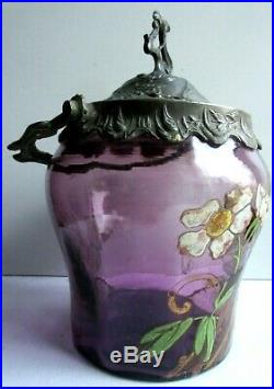 Pot à biscuits Art Nouveau, seau verre violet émaillé LEGRAS Les Roses de Noël