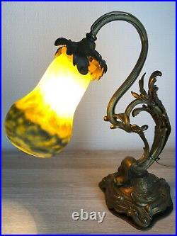 RARE Superbe authentique LAMPE en BRONZE ART NOUVEAU tulipe pâte de verre MULLER