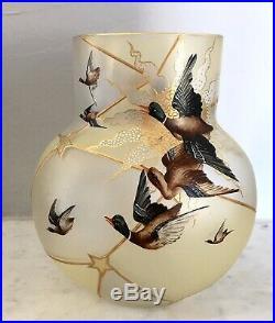 RARE Vase Verre Emaillé François-Théodore LEGRAS Art-Nouveau 1900 (Non Signé)