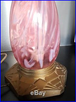 Rare Lampe Plafonnier Obus En Verre Rose Opalescent Art Nouveau Jugenstill 1900