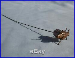 Rare ancienne épingle a chapeau scarabée Art Nouveau insecte hat pin 1910 verre
