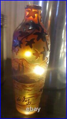 Rare soliflore en pâte de verre signé De Vez époque art nouveau