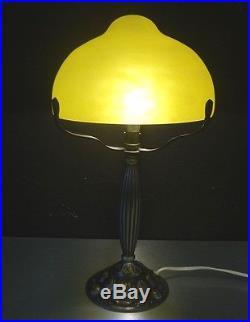 SCHNEIDER GRANDE LAMPE ART NOUVEAU PATE DE VERRE-BRONZE art deco-daum-gallé