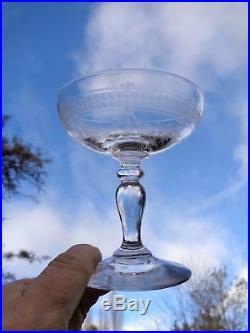 Saint Louis Papin 6 Tall Sherbet Glasses Coupes A Champagne Cristal Gravé 19ème