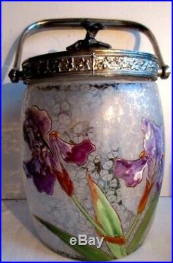 Seau à biscuits Art Nouveau, pot en verre émaillé LEGRAS Les iris violets
