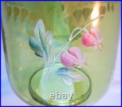 Seau à biscuits Art Nouveau verre vert émaillé Legras Coeurs de Marie