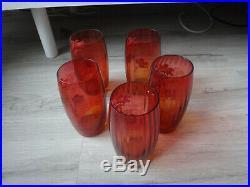 Serie 5 Grands Verres Emailles Legras Art Nouveau