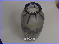 Sublime Vase en Verre à décor Dégagé à l'Acide signé Legras. Art Nouveau. 405 mm