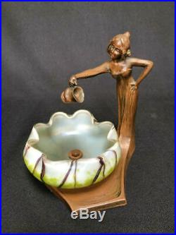 Sujet En Regule 1900 Art Nouveau Avec Coupe Irisee Loetz Nouille C1599