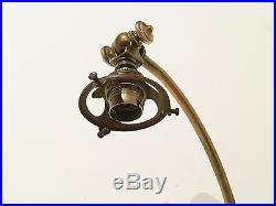 Superbe Lampe Art Nouveau Bronze Nénuphar Tulipe Pâte de Verre Luminaire TBE