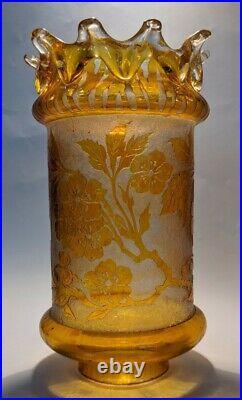Superbe Photophore en Verre de Baccarat Gravé à l'Acide de Fleurs Art Nouveau
