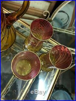 Superbe Service à orangeade verre émaillée art nouveaux Gallé Legras complet