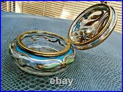 Superbe bonbonnière art-nouveau en verre émaillé et doré début 20 ème