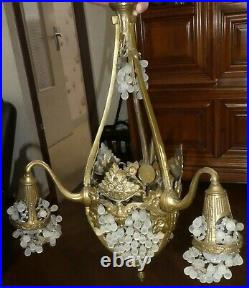 Suspension Lustre En Bronze Et Verre De Murano Grappe De Raisin Art Nouveau
