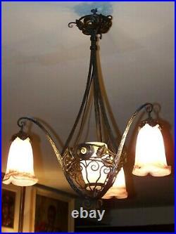 Suspension d'époque Art Nouveau pate de verre colorée signé MULLER frères Lunev