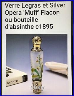 Topette absinthe LEGRAS verre émaillé Art Nouveau, flacon parfum, Daum Lalique XIX