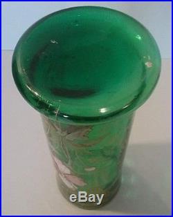 Très beau vase rouleau verre émaillé Legras modèle aux clématites Art Nouveau