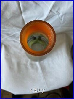Vase Art Nouveau Epoque 1900 Verre Peint Émaillé Signé Leune Hauteur 40,5 CM