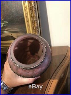 Vase Art Nouveau Pate De Verre Et Etain Signe Lelorrain H 24.5 Cm