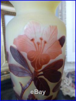 Vase Balustre Art Nouveau Pate De Verre Emile Galle Cameo Etched Glass Mint