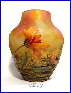 Vase En Pate De Verre Signe Daum Nancy Art Nouveau 1900 Modele Arnica No Galle