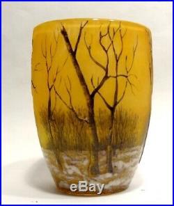Vase En Verre Emaille Paysage Hivernal Signe Daum Nancy Art Nouveau 1900