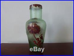 Vase Montjoye Legras Signe Pte De Verre Dégagé Acide Art Nouveau Old Glass 1900