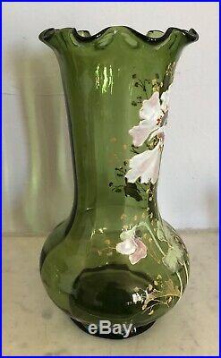 Vase Verre Emaillé François-Théodore LEGRAS Art-Nouveau 1900 FLEURS 28cm XIXe