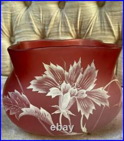 Vase ancien fleurs en verre Art Nouveau France Old vase with flowers in Art Nouv