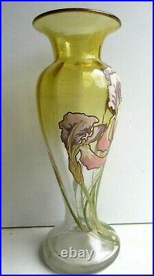 Vase balustre Art Nouveau, verre miel dégradé, émaillé LEGRAS Iris multicolores