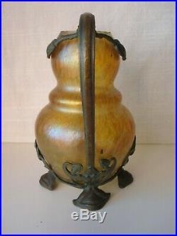 Vase en verre irisé et monture en bronze d'époque Art-Nouveau, Loetz, Kralik