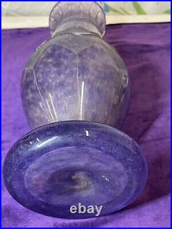 Vase géant H35 cm en pâte de verre Art Déco Nouveau gravé à l'acide Degué