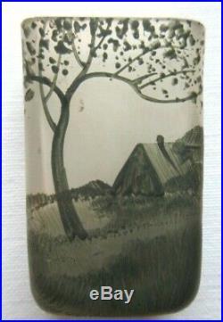Vase miniature Art Nouveau, pâte de verre émaillée signé C. Vessière NANCY, 4 cm