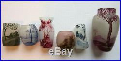 Vase miniature Art Nouveau pâte de verre émaillée signé C Vessière NANCY, 4 cm